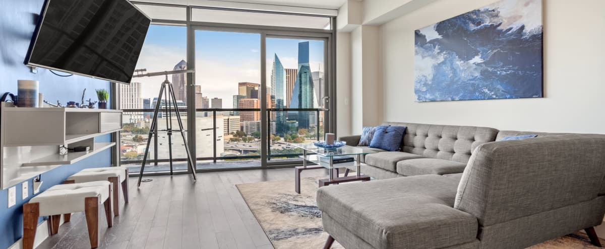 Victory Park High rise with stunning panoramic view of skyline in Dallas Hero Image in Victory Park, Dallas, TX