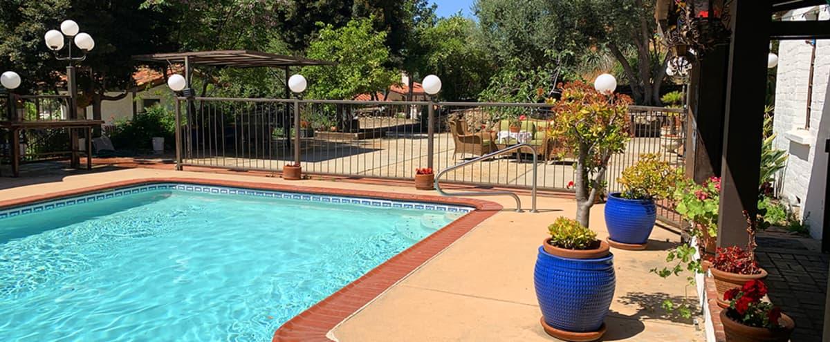 Private Outdoor Venue/Space in Los Angeles + Pool + Resort Style + Hacienda + Mountains + Cabana + Indoor/Outdoor Jacuzzi & Sauna in Sun Valley Hero Image in Sun Valley, Sun Valley, CA
