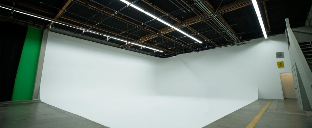 "LA Stage ""A"" White Cyc - 4100 sq. ft. with Standing Film Permit. You don't have to get a Film Permit to film here. in Los Angeles Hero Image in Northeast Los Angeles, Los Angeles, CA"
