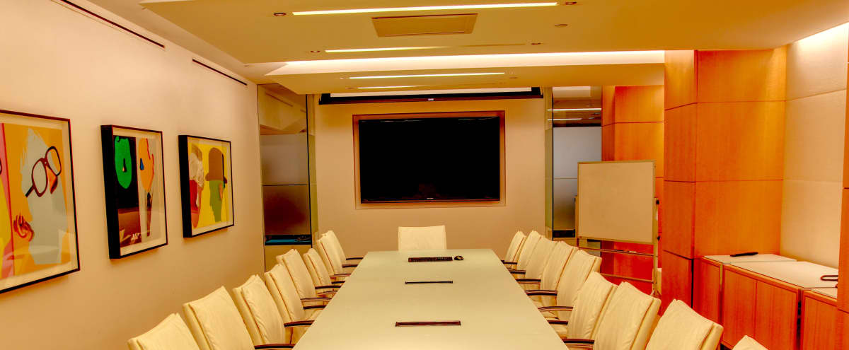 Innovative Midtown Boardroom with A/V and Whiteboard in New York City Hero Image in Midtown, New York City, NY