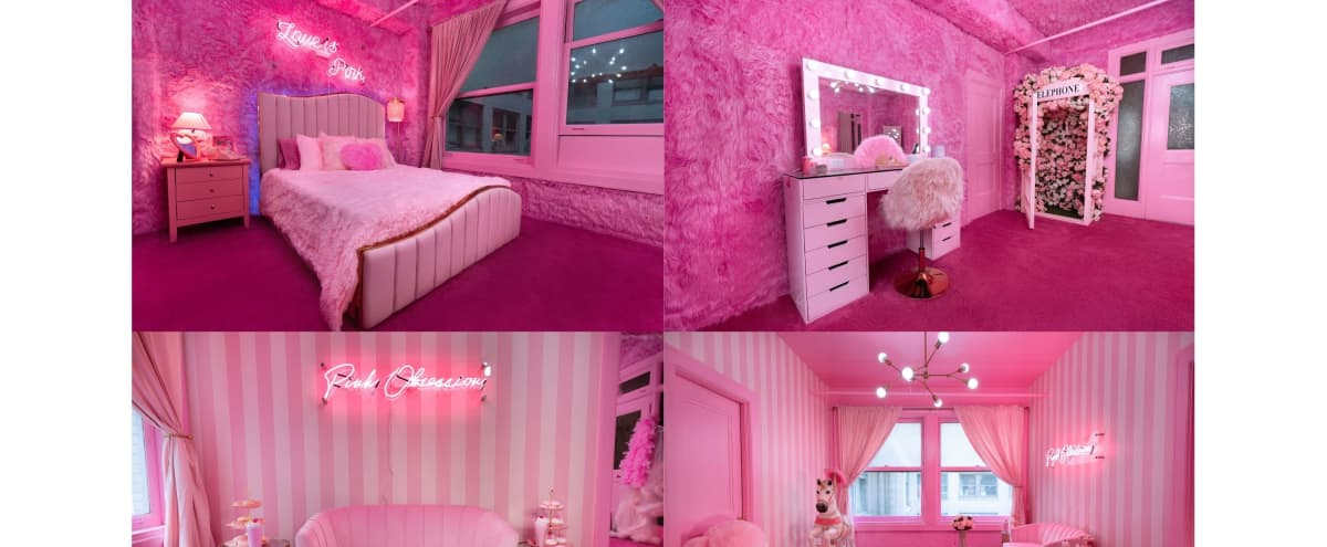 Downtown Pink Retro 2 - Room Suite w/ Telephone Booth & Carousel Horse in Los Angeles Hero Image in Central LA, Los Angeles, CA