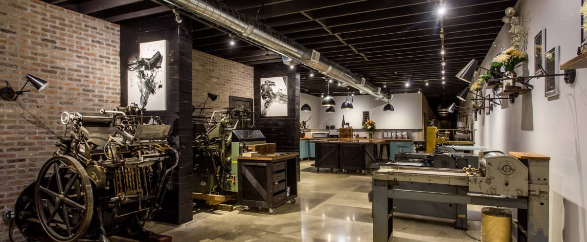 Artfully Designed Print Studio with Vintage Industrial Appeal in Chicago Hero Image in Lake View, Chicago, IL