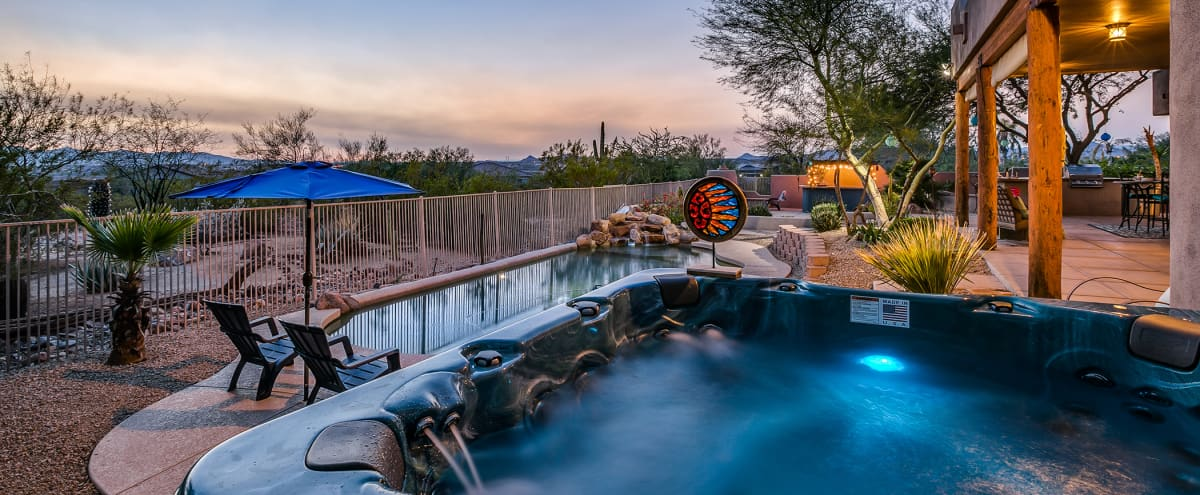 Secluded Desert Oasis for Film/Photo Shoots | 1.5 acres with sunset views, pool, hot tub, billiards, foosball, outdoor bar in Peoria Hero Image in undefined, Peoria, AZ