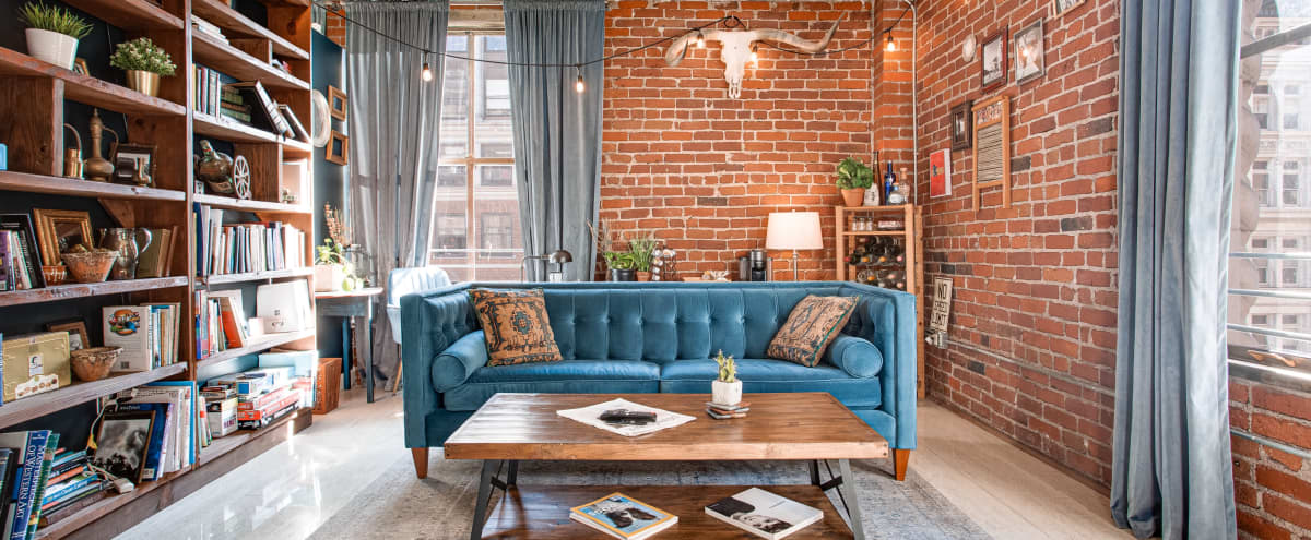 Light-filled New York Style Loft in DTLA with Rustic Library Room & Full Profoto+Video Gear Available in Los Angeles Hero Image in Central LA, Los Angeles, CA