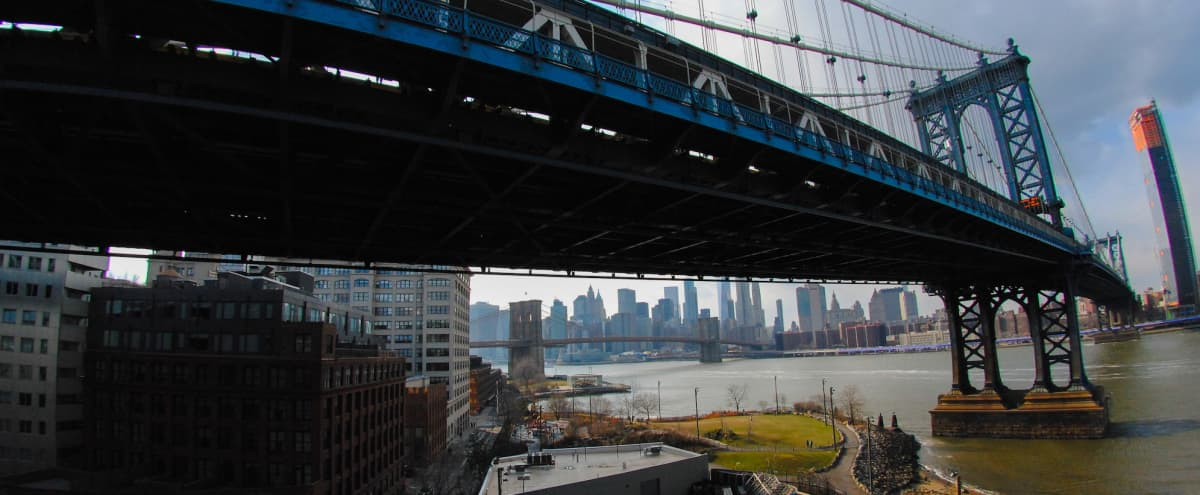 Brooklyn Artists Loft with Gorgeous View of Lower Manhattan and Brooklyn Bridge Park in Brooklyn Hero Image in Dumbo, Brooklyn, NY