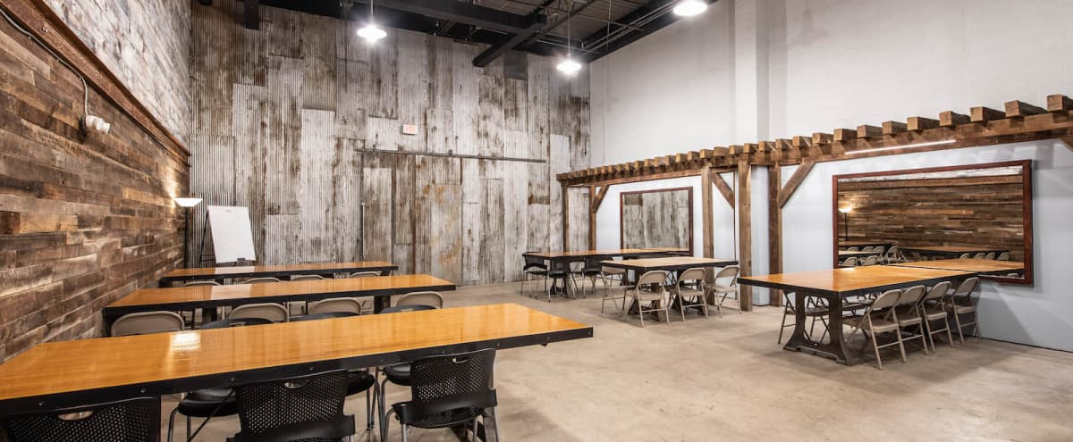 rustic industrial meeting space   event hall  alexandria