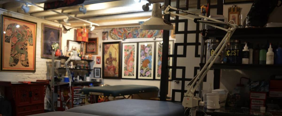 West Village - 2 Floors Modern Tattoo Studio with Amazing Artwork and Garden in New York Hero Image in Greenwich Village, New York, NY