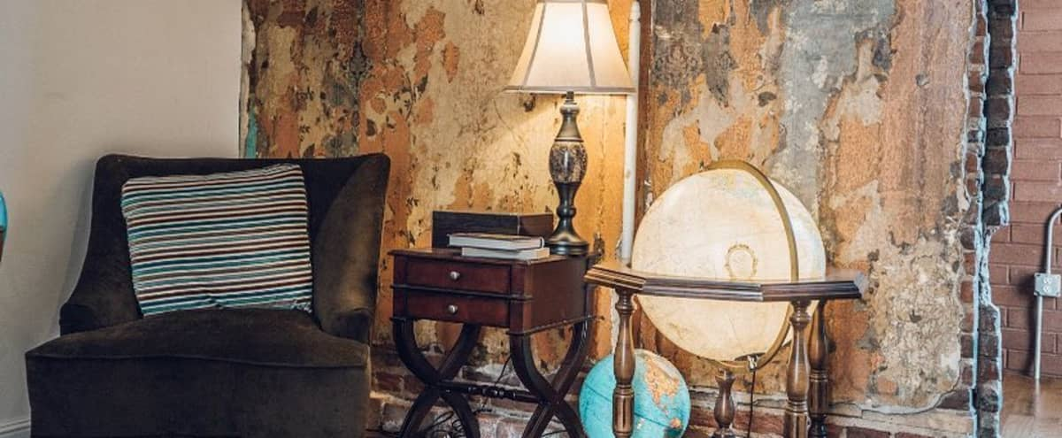 Eccentric Reading Room with Vintage Props in Funky 100 Year Old Building in Denver Hero Image in Ballpark, Denver, CO