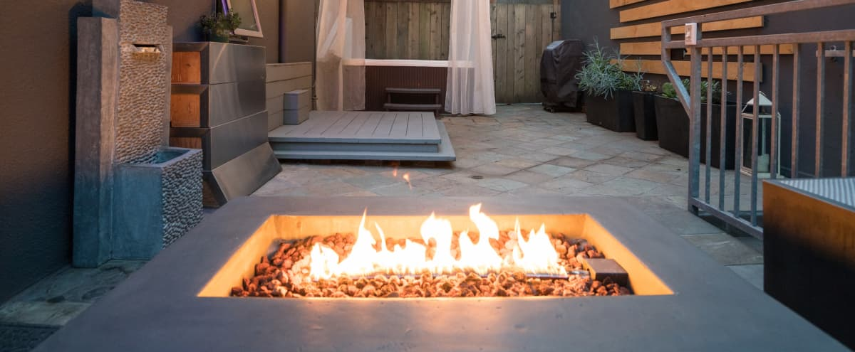 Private Patio Equipped w/a Hot tub, Fire pit, Lounge + Modern indoor Space + Parking - Upper Market St! in San Francisco Hero Image in Twin Peaks, San Francisco, CA