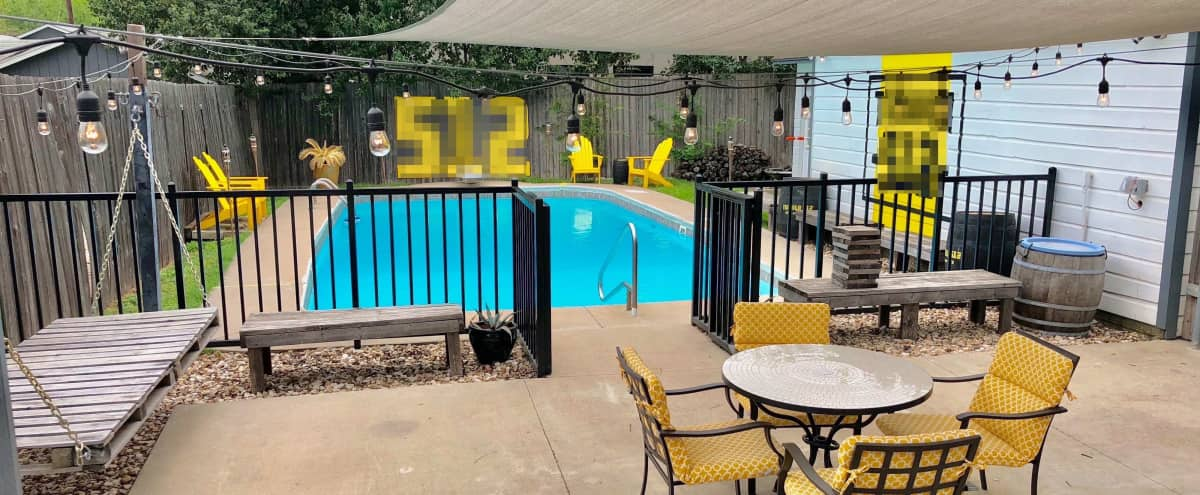 Downtown hidden gem with a great outdoor patio perfect for hosting, complete with a 60's era pool.  Office space by day, venue when you need us! in Austin Hero Image in South Austin, Austin, TX