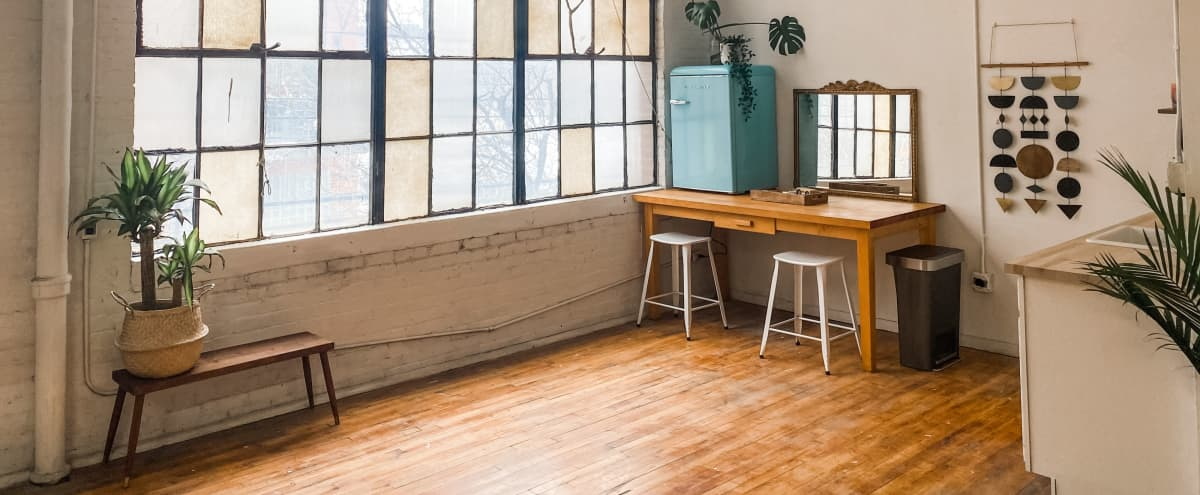 Downtown Natural Light Loft w/ High Ceilings for Intimate Events | Engagement Space | Micro-Weddings in Detroit Hero Image in Corktown, Detroit, MI