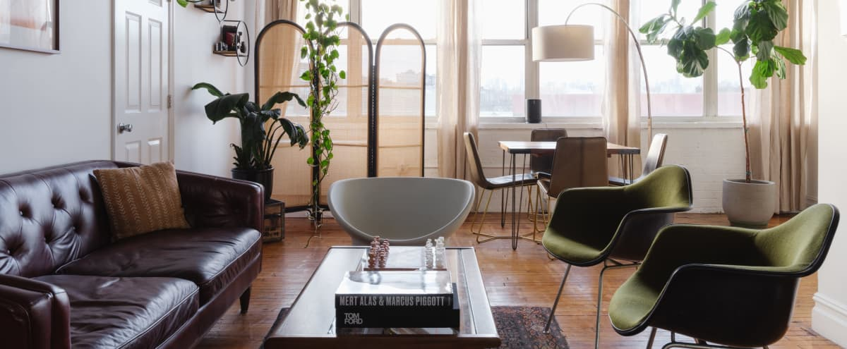 Sunny East Williamsburg Loft With Skyline View And Mid Century Furnishings in Brooklyn Hero Image in East Williamsburg, Brooklyn, NY