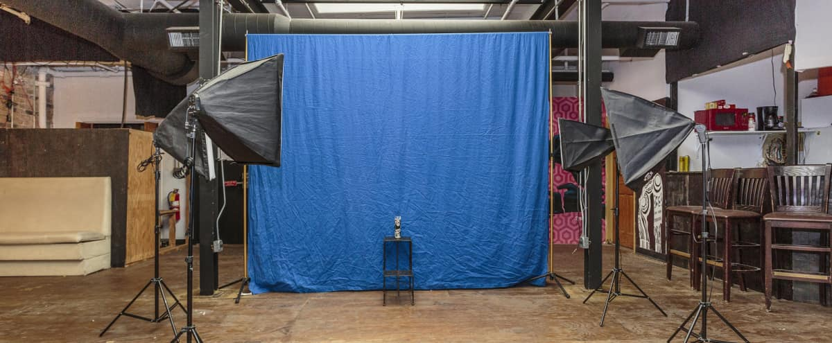 Production Studio with a Backdrop, Lights, & Stage with Audio. in Chicago Hero Image in West Town, Chicago, IL