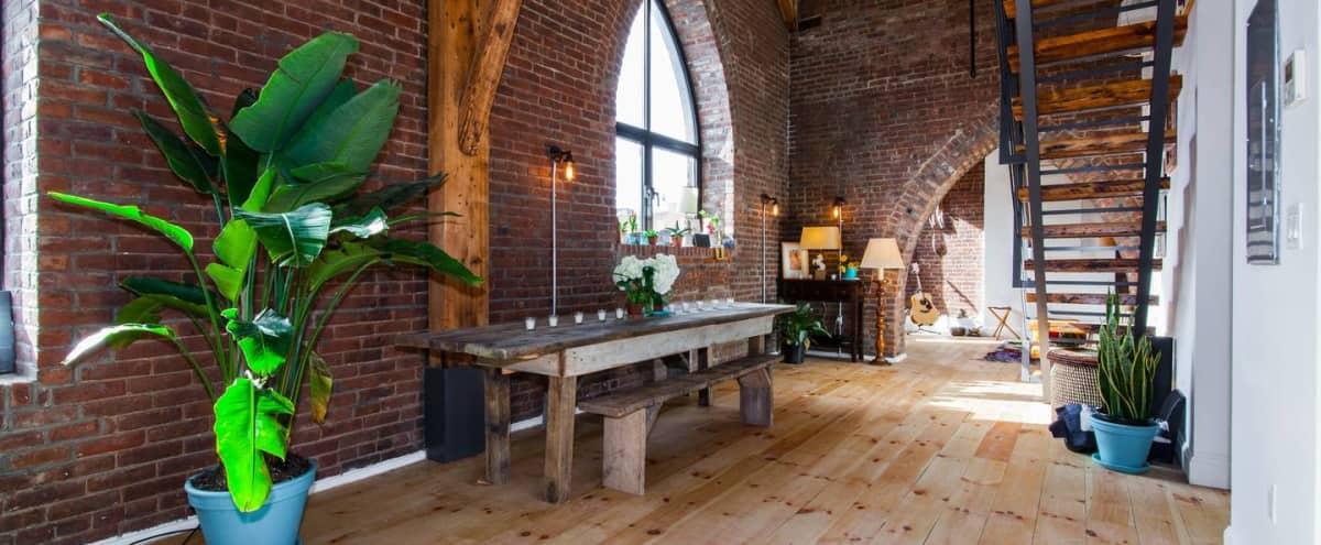 Gorgeous Converted Church w/ High Ceilings & Original Beams & Brick in Brooklyn Hero Image in Williamsburg, Brooklyn, NY