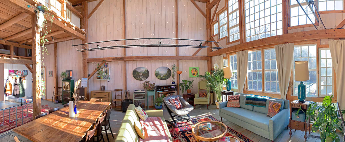 Catskills Mini Compound: Art-Filled Barn w/ 3-Story Window Facade, + 2 Stunning and Eclectic Guest Houses, Pond, River, Mountains in West Shokan Hero Image in undefined, West Shokan, NY