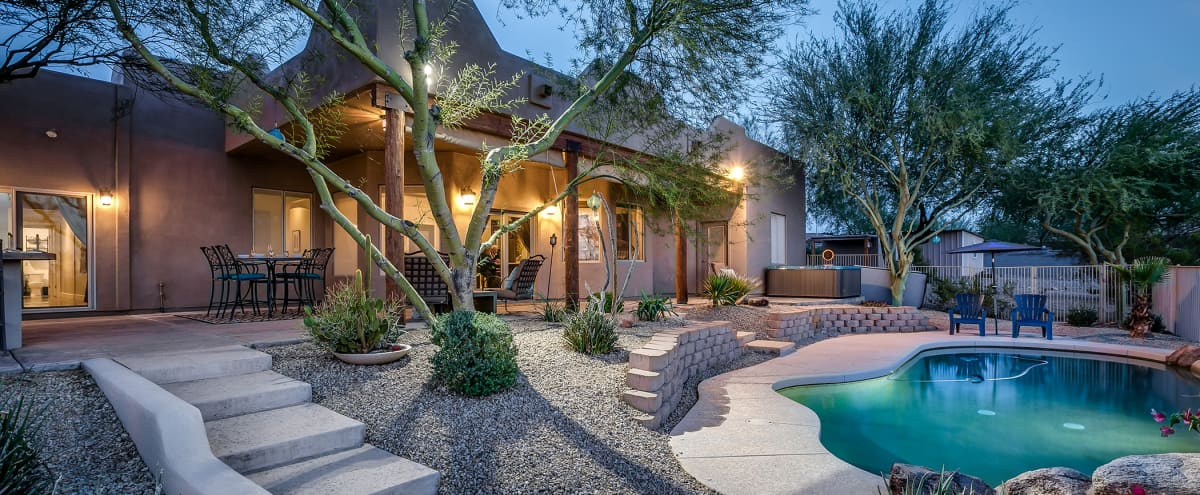 Secluded Desert Oasis on 1.5 acres with sunset views, pool, hot tub, billiards, foosball, outdoor bar in Peoria Hero Image in undefined, Peoria, AZ