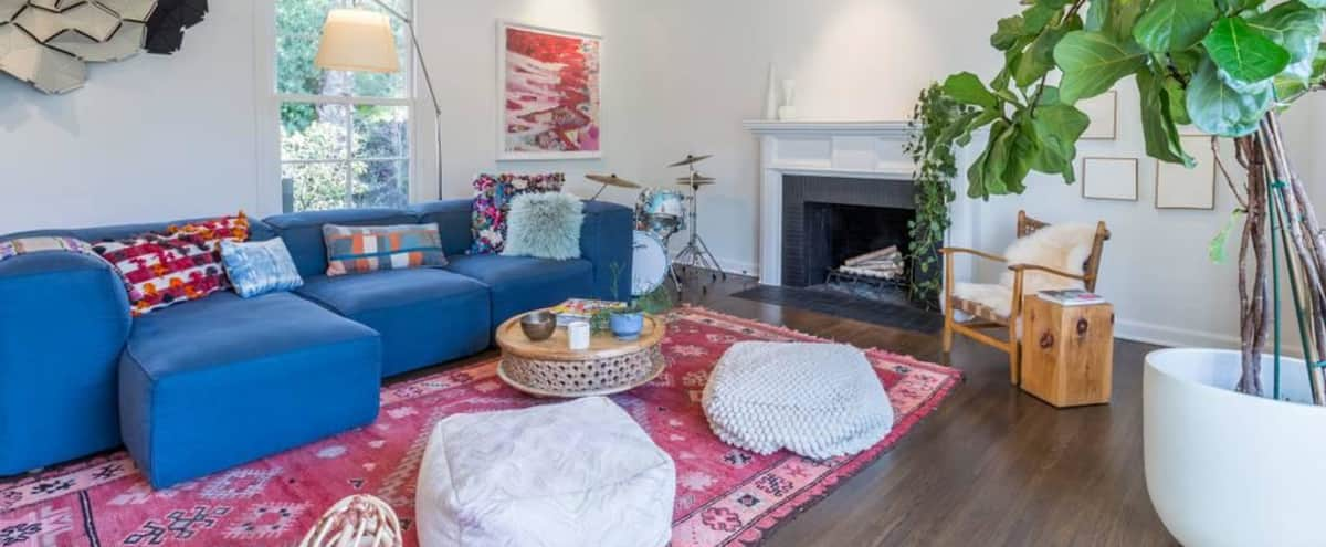Old Los Angeles neighborhood with tree lined streets, parkways and gas lamps. Cheviot Hills is in the middle of the city, accessible to the westside and Hollywood. Traditional House meets BOHO interior. in Los Angeles Hero Image in Cheviot Hills, Los Angeles, CA