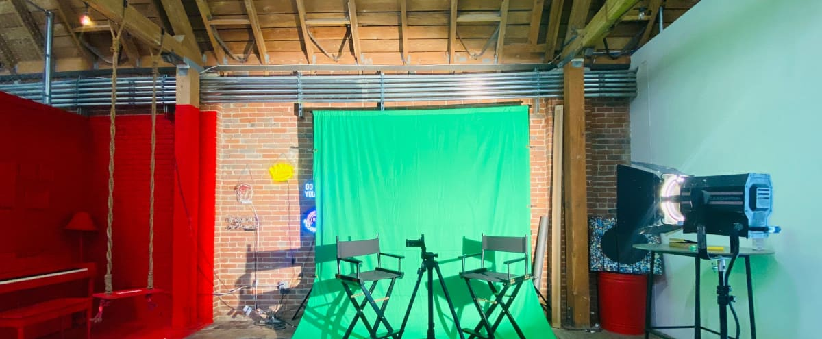 Super Creative 1920's Industrial Production Studio: Filming, Photoshoots, Digital Talk Shows, Sets & Video Podcast Ready! Equipped w/ Backdrop Set Up, Green Screen & Studio Set Props. (Blocks from L.A. Convention Center) in Los Angeles Hero Image in Westlake, Los Angeles, CA