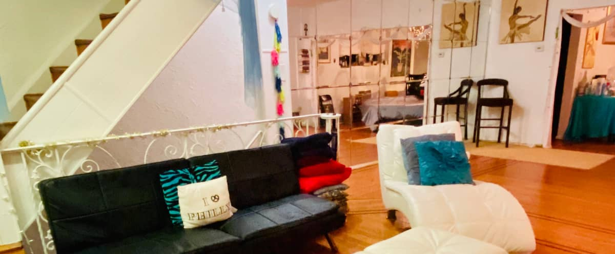 Urban Bi-Level Roomy Loft with Open Space, Large Mirrors and Jacuzzi in Philadelphia Hero Image in West Philadelphia, Philadelphia, PA