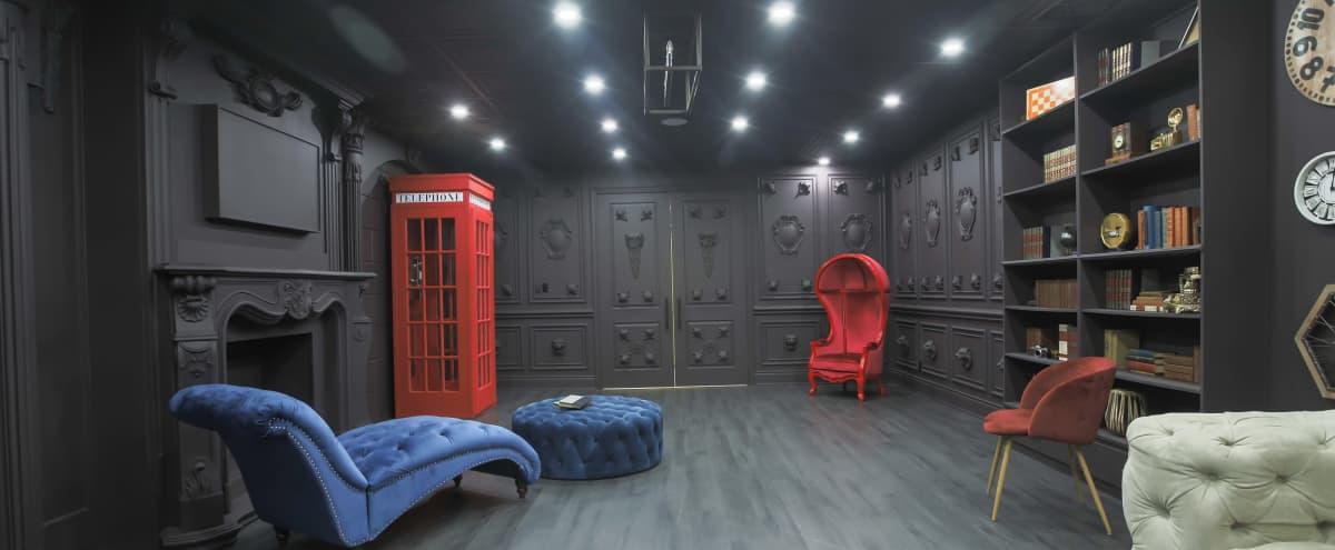 Naturally Lit Dark Royal Room with Fire Place Mantle, Clockwall, Bookshelf & Roman Columns in Brampton Hero Image in undefined, Brampton, ON