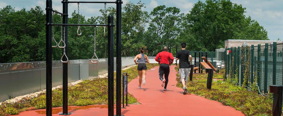 Rooftop running track and outdoor gym in Alexandria Hero Image in Potomac West, Alexandria, VA