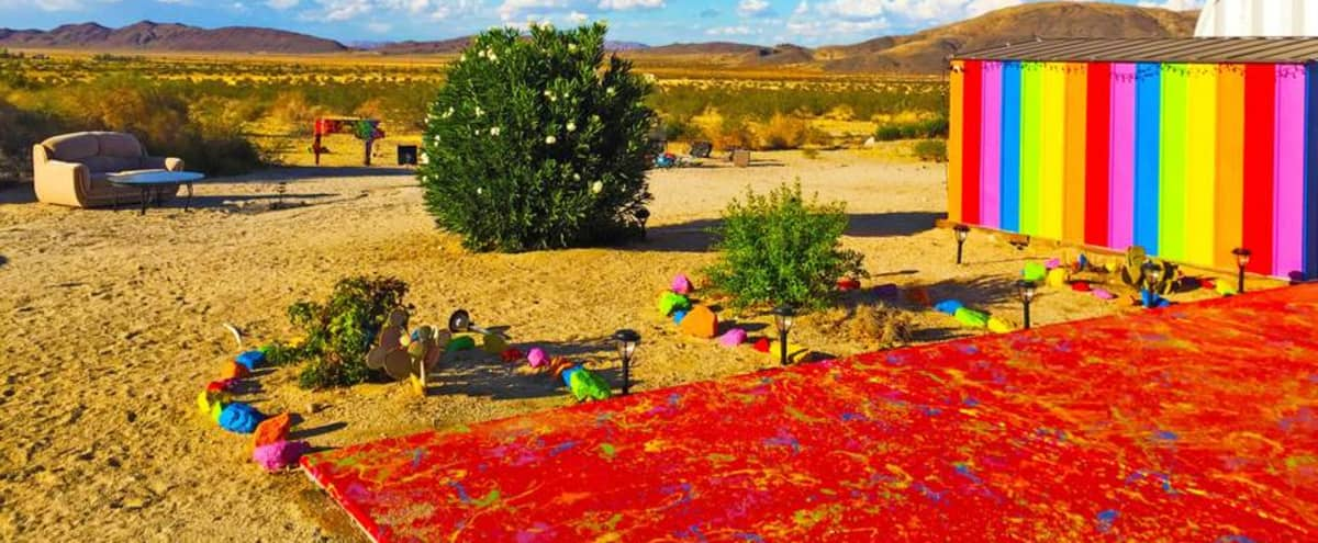 Psychedelic Rainbow Desert Ranch w/ Color Trip Trailer in Joshua Tree Hero Image in undefined, Joshua Tree, CA
