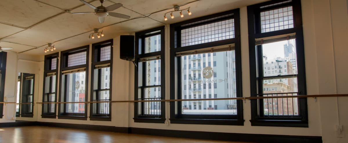 HUGE STUDIO, PHOTOGRAPHY/FILM/DANCE/FITNESS/YOGA IN DOWNTOWN LA LOFT SETTING! COULD BE NEW YORK! LARGE WINDOWS, TONS OF NATURAL LIGHT + STUNNING VIEWS!  ALL IN ONE FOR ANYTHING! in Los Angeles Hero Image in Central LA, Los Angeles, CA
