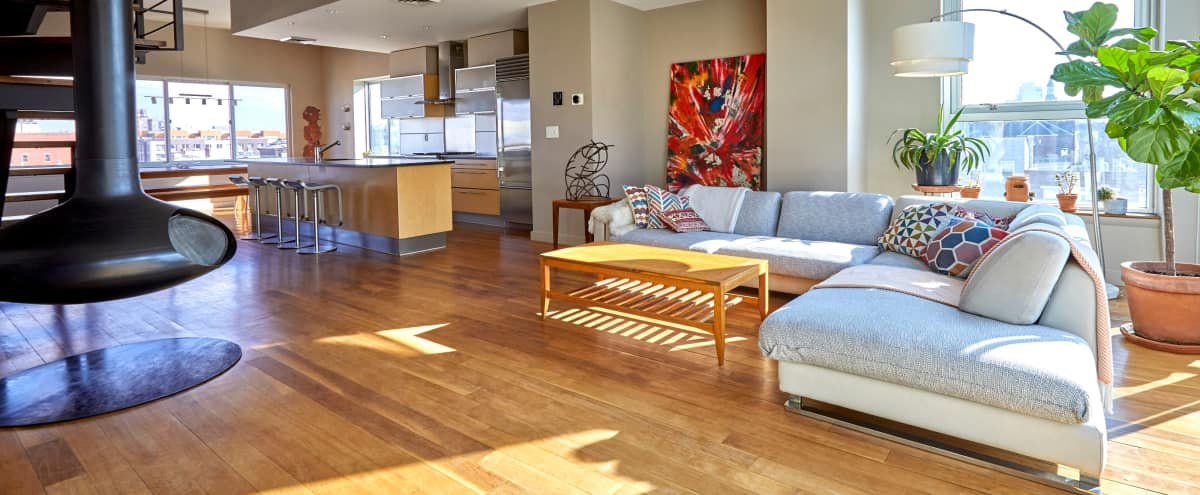 Spacious Williamsburg Duplex Penthouse, Full Kitchen, 2 Terraces, Great Light in Brooklyn Hero Image in Williamsburg, Brooklyn, NY