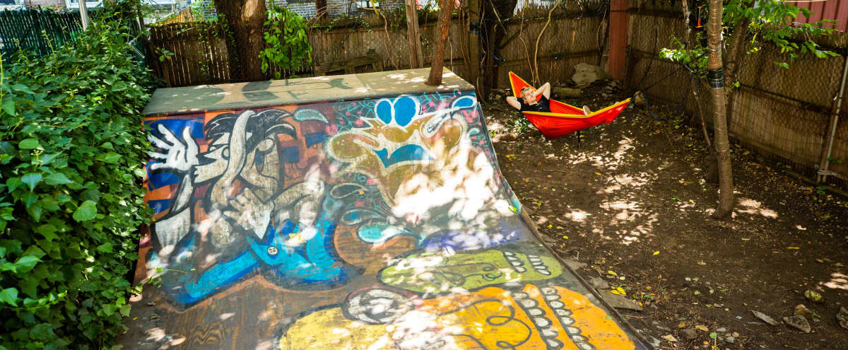 Mystical Bushwick Backyard with Halfpipe in Brooklyn Hero Image in Bushwick, Brooklyn, NY