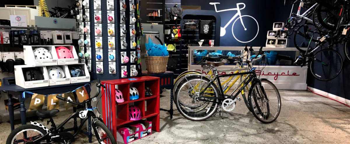 Eclectic Downtown Bicycle Shop Storefront in Chicago Hero Image in The Loop, Chicago, IL