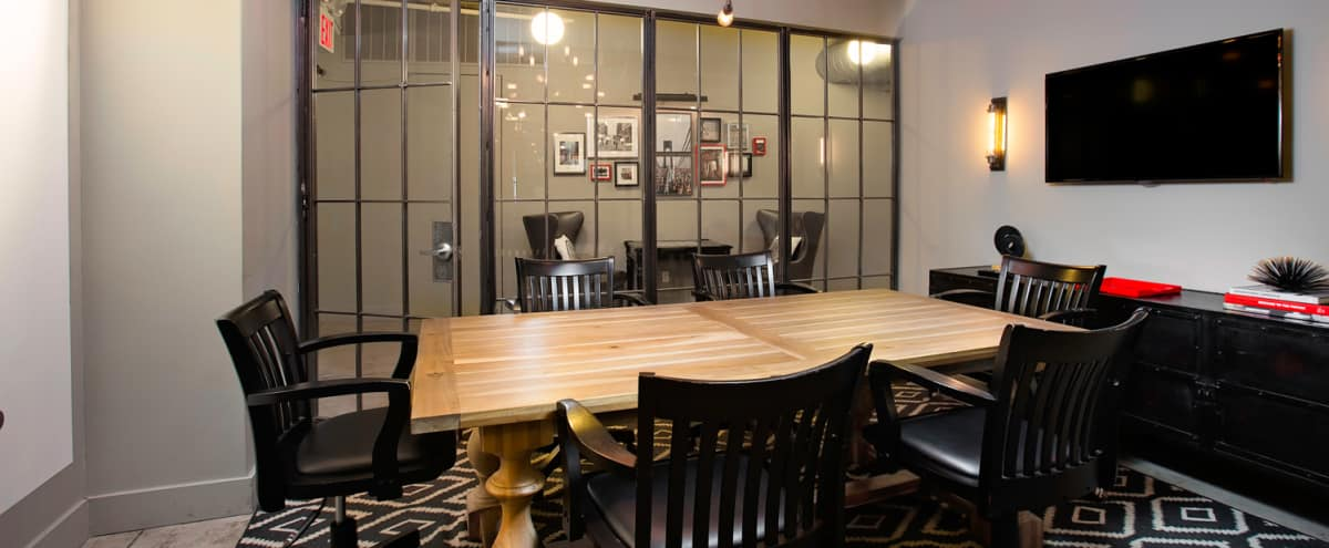 Stylish conference room with TV & whiteboard wall in New York Hero Image in Midtown, New York, NY