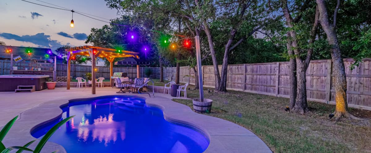 Bell's Boho Backyard W. Pool, Hot Tub, Boards, Axe Throwing, Cooking, Shade w/ Mister, & Firepits... in Haslet Hero Image in undefined, Haslet, TX