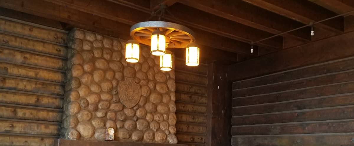 Rustic log cabin room with full size gym chicago il event