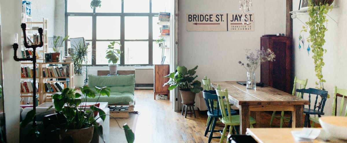 urban sunny super cool industrial loft with NYC sky line view. in brooklyn Hero Image in East Williamsburg, brooklyn, NY