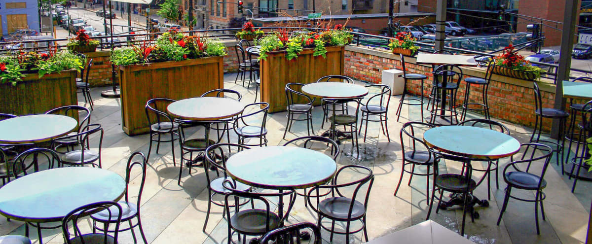 Downtown Restaurant with Eclectic Dining Room & Stunning Rooftop in Chicago Hero Image in Near North Side, Chicago, IL