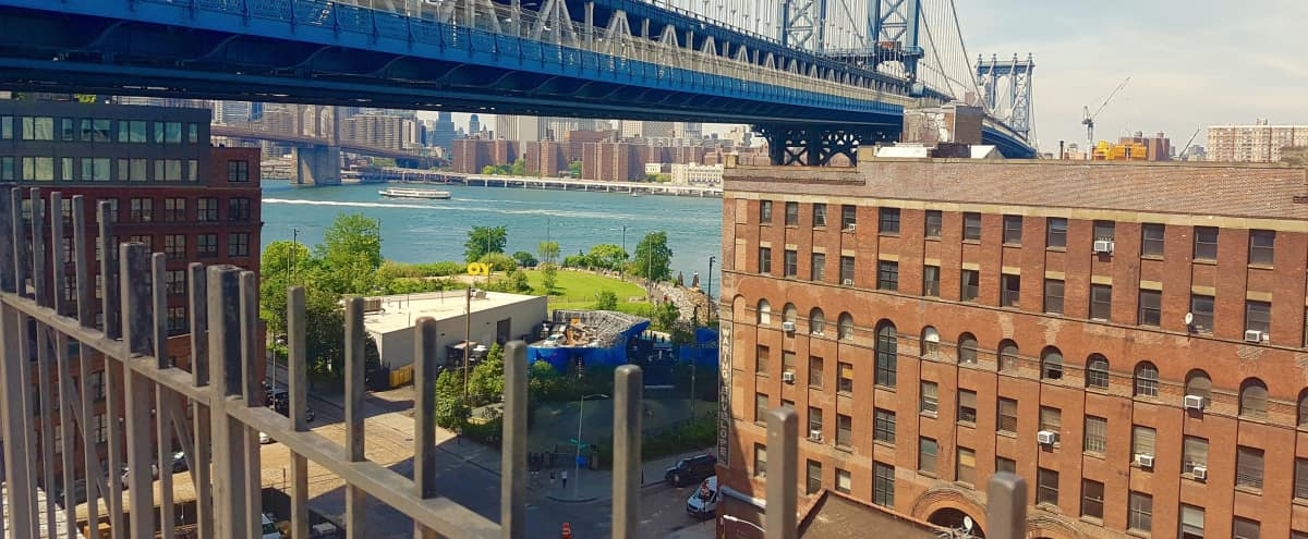 Dumbo Rooftop Directly Adjacent to Manhattan Bridge in Brooklyn Hero Image in Dumbo, Brooklyn, NY