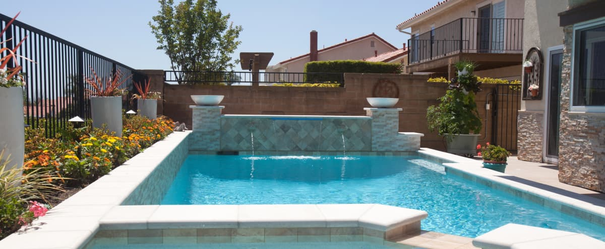 Modern Mediterranean Pool / Spa & Patio with Lake View in Mission Viejo Hero Image in undefined, Mission Viejo, CA
