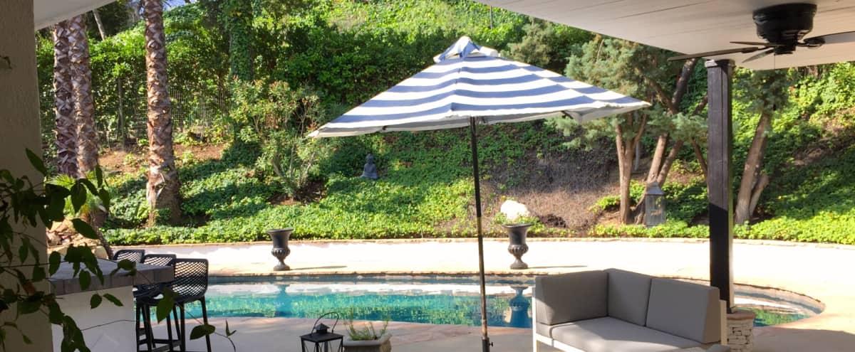 Poolside Retro Glam: Cabana, Palm Bunches, Lush yard in Los Angeles Hero Image in Tarzana, Los Angeles, CA