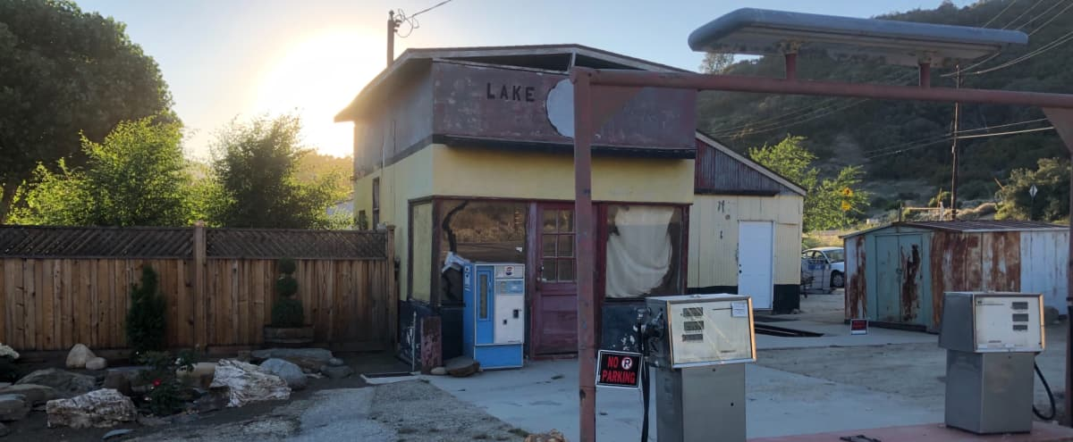 Vintage Gas Station with little store front space in beautiful mountainous scenery of Lake Hughes Ca. in Lake Hughes Hero Image in undefined, Lake Hughes, CA
