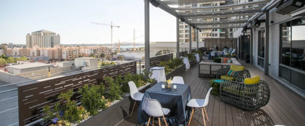 Contemporary + Versatile Rooftop Space with a City View in San Diego Hero Image in Marina, San Diego, CA