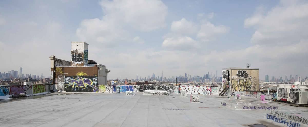 Industrial Bushwick Warehouse & Rooftop with Sweeping Manhattan Views in Brooklyn Hero Image in Bushwick, Brooklyn, NY