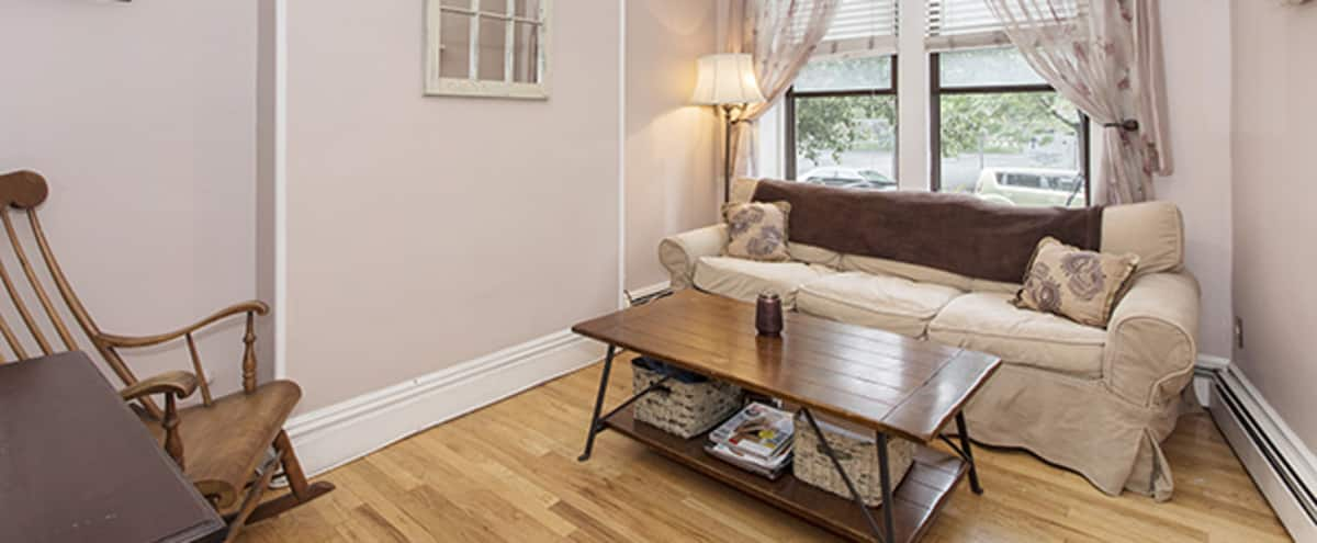 Charming Railroad Style Chabby Chic Apartment with Private Yard in Hoboken Hero Image in Biggie's Way, Hoboken, NJ