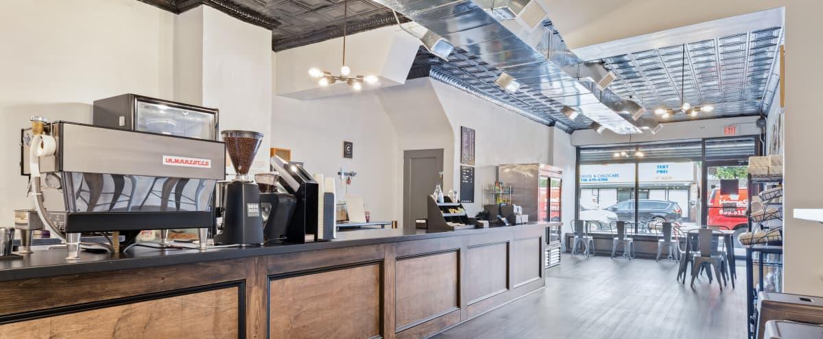 Spacious Industrial-Rustic Coffee Shop in Brooklyn Hero Image in Marine Park, Brooklyn, NY