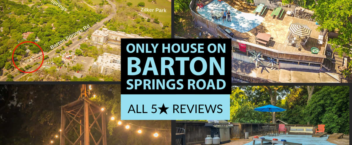 ★ SXSW Availability ★ Closest Home to Zilker Park ★ The ONLY patio overlooking Barton Springs Road ★ 2,000 sq feet, plenty of room for yard games! ★ in Austin Hero Image in Zilker, Austin, TX