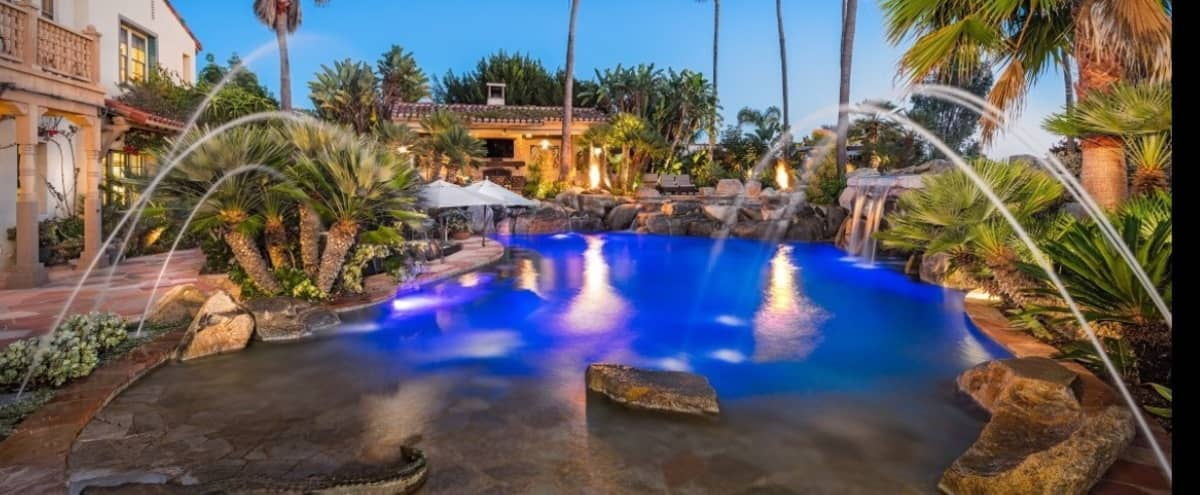 Outdoor Tropical Pool Oasis in San Diego Hero Image in Black Mountain Ranch, San Diego, CA
