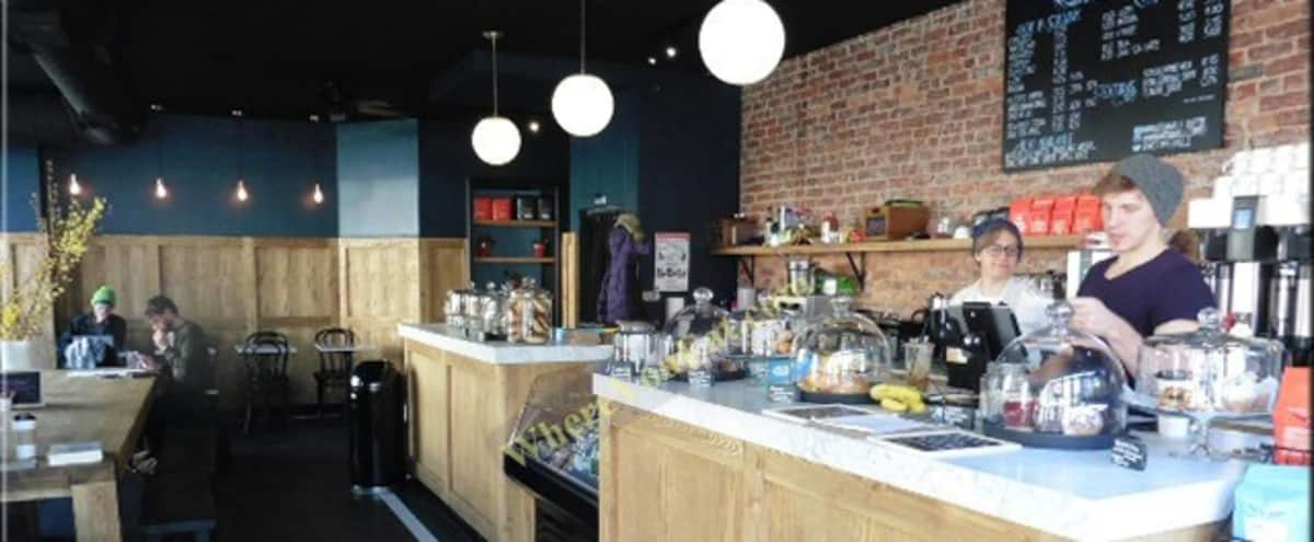 Authentic NYC Coffee Shop with classic design details, tons of natural light, and space. in Brooklyn Hero Image in Crown Heights, Brooklyn, NY