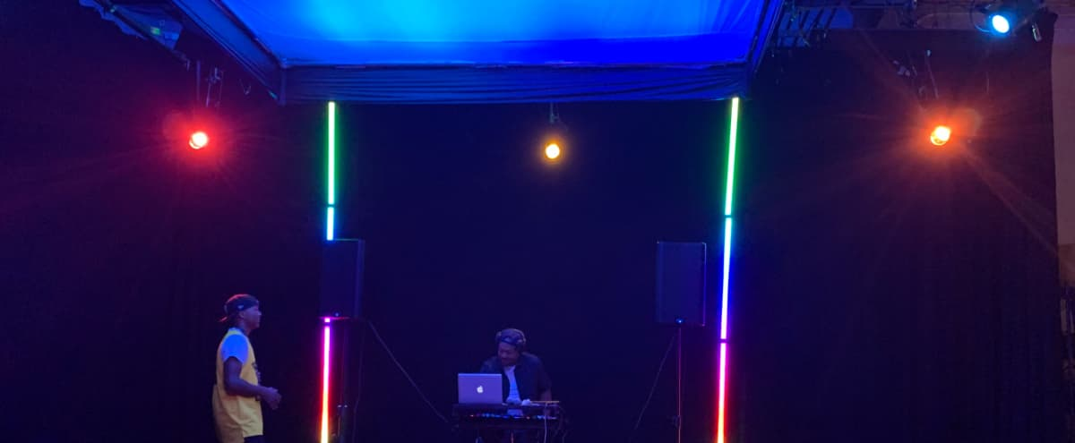 White/Green Cyc, Black void stage with pre-rigged lighting in Northridge Hero Image in Winnetka, Northridge, CA