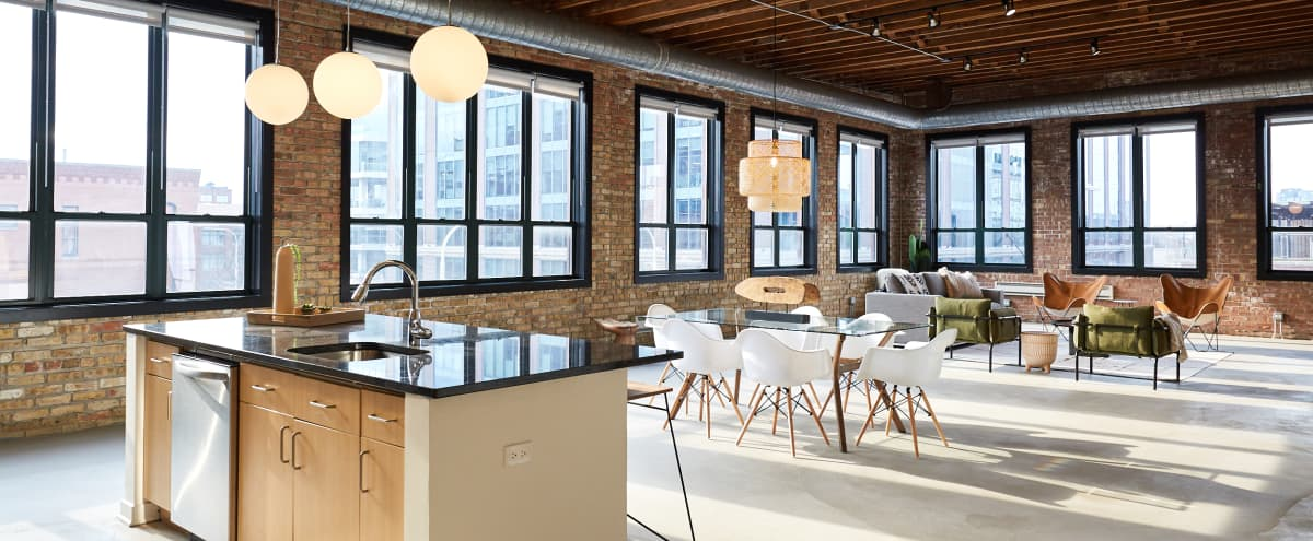 Chic Penthouse Corner Loft in the Heart of Fulton Market in Chicago Hero Image in West Loop, Chicago, IL