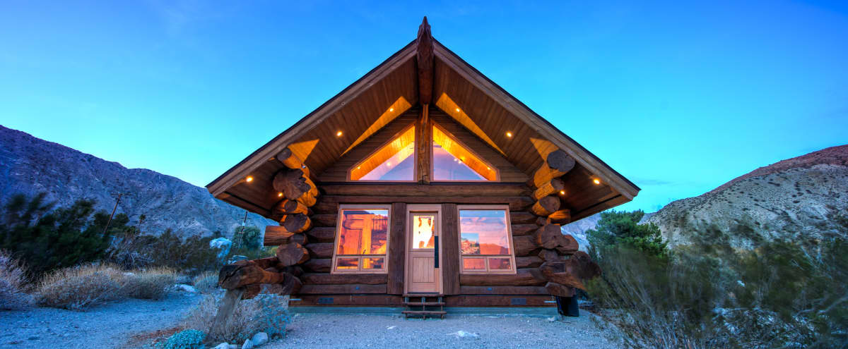 Log Cabin With Backyard Oasis In The Southern California Desert Backcountry  In Whitewater Hero Image In