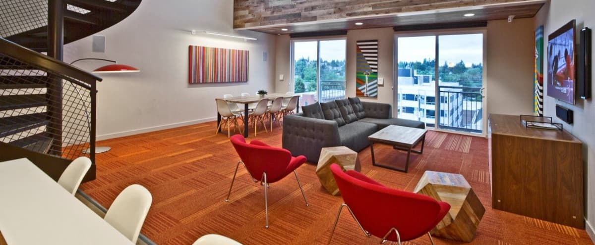 Spacious Lofted Lounge with Floor to Ceiling Windows! in Seattle Hero Image in Roosevelt, Seattle, WA